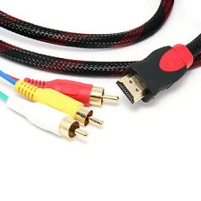 5ft HDMI Male to 3 RCA Video Audio AV Cable Cord Adapter for TV HDTV 1080P USA