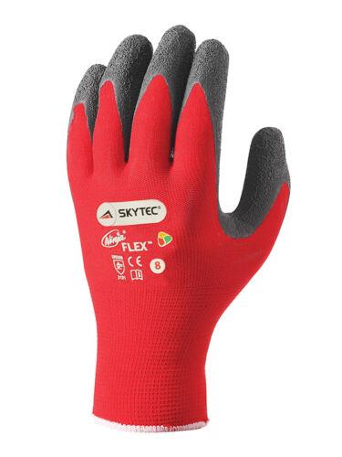 10 X Skytec Ninja Flexible Travail Gants Main Protection Nylon Rouge//Noir Tout