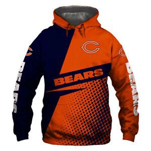 2018 Chicago Bears Hooded Hoodie Zip Front jacket coat women men warm Sweatshirt