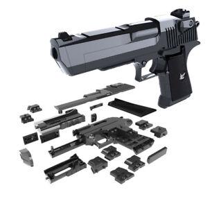 DIY Building Blocks Toy Gun Desert Eagle Assembly Brain Puzzle Game Instructions