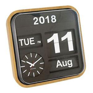 Marca Calendario.Dettagli Su Orologio Da Parete Big Flip Finitura In Legno Di Bambu Retro Calendario Elegante Orologio Di Marca Mostra Il Titolo Originale