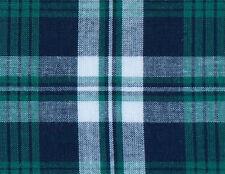 Green, Navy, White Madras Plaid, Cotton Fabric. 2½ Yards. Woven Tartan