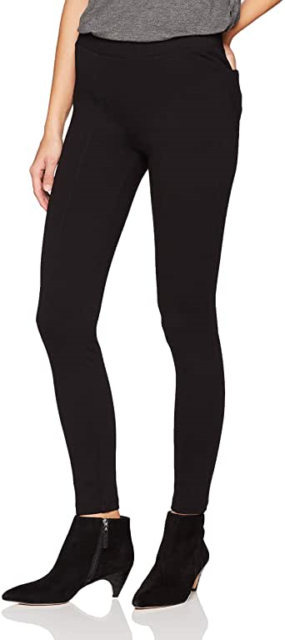 Daily Ritual Women's Seamed Front, 2-Pocket Ponte Knit Legging, Black, Small Lon