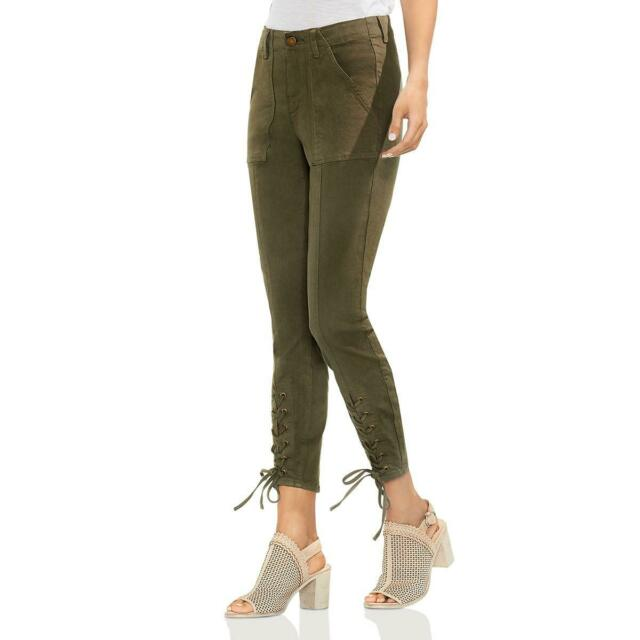 Vince Camuto Womens Green Lace-Up Denim Day to Night Skinny Jeans 27 4 BHFO 5739
