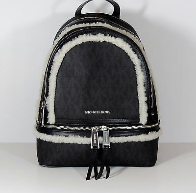 a8bbf002f910 NEW MICHAEL KORS MD RHEA FUR TRIM BLACK PVC Monogram BACKPACK BOOKBAG Bag  MONO