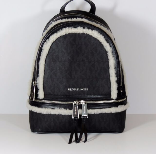 2ea1a22cdba7 ... switzerland new michael kors md rhea fur trim black pvc monogram  backpack bookbag bag mono afc1f
