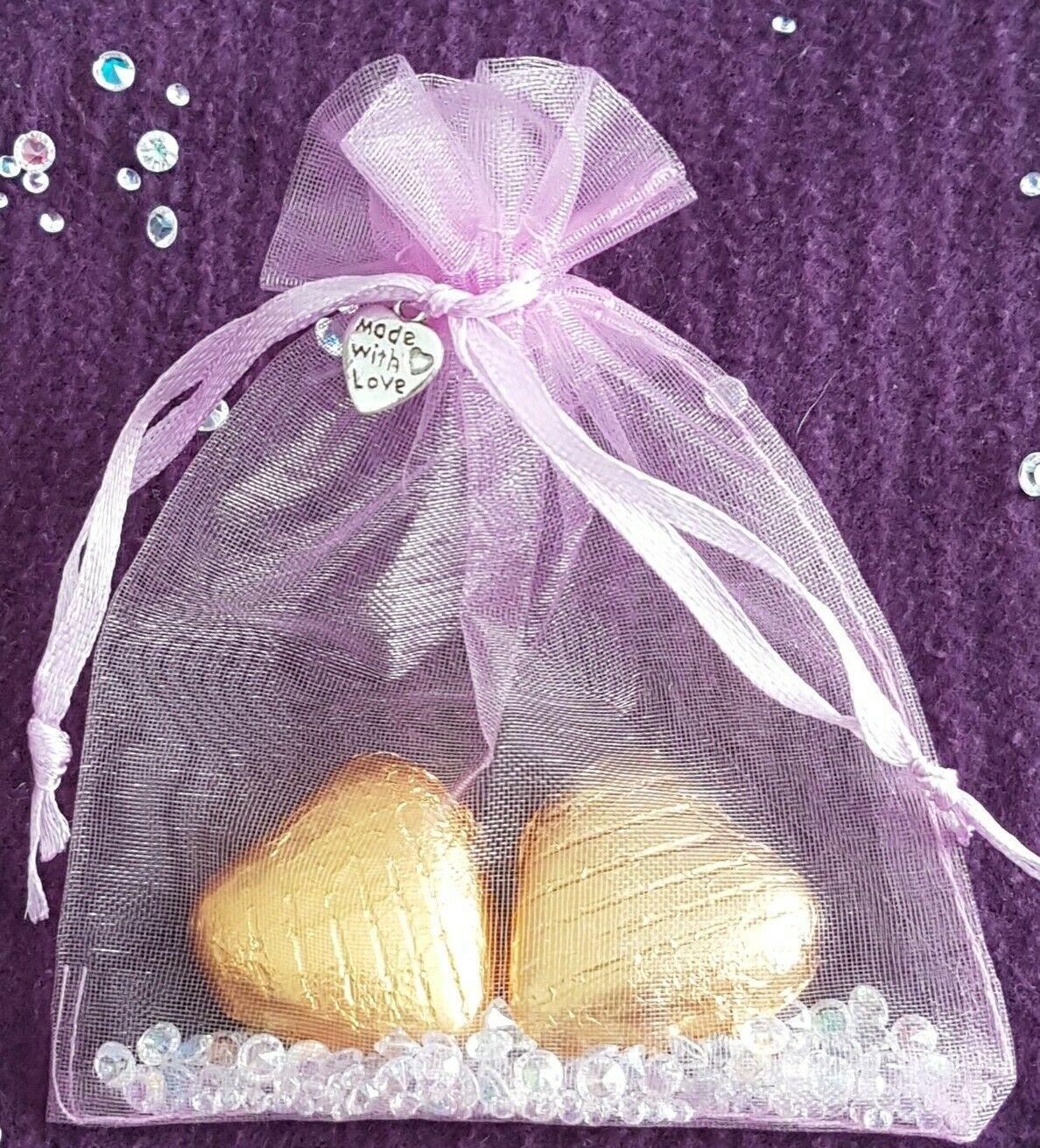 50 wedding party favours hen  baby shower gifts.Foiled Chocolate hearts organza