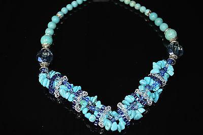 exklusive Stein Kette Kristalle Türkise Perlen Perlenkette Steinschmuck  NEU