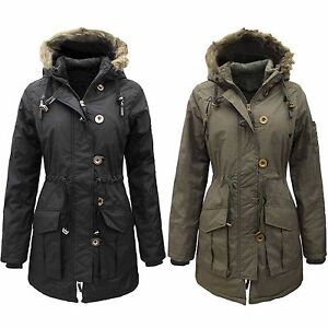 NEW LADIES ARMY PARKA COATS WOMEN GIRLS FUR HOOD PADDED MILITARY ...