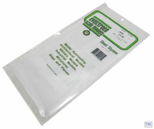"""EG9005 Evergreen Plastics 12/"""" x 6/"""" Clear sheets 0.005/"""" thickness Pack of 3"""