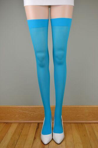 OPAQUE PLAIN TOP School Girl Stockings TURQUOISE O//S