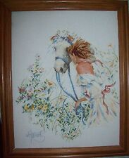 """COMPLETED COUNTED CROSS STITCH Girl with HorseFRAMED PICTURE 11"""" x 14'"""
