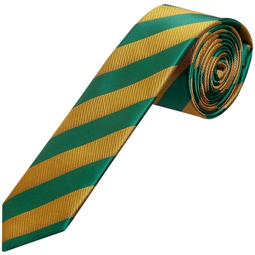 TIES R US Green and Gold Striped Skinny Men's Tie Slim Tie Thin Tie Wedding Tie