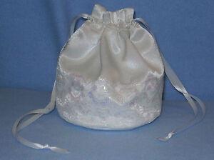 White Satin & Iridescent Lace Dolly Bag / Handbag Bride Communion Christening