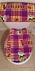 Minnesota Vikings Plaid Toilet Seat Cover Set Bathroom