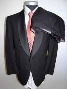 Wilvorst Smoking Anzug Einreiher Schwarz Unifarben Schurwolle Gr. 50