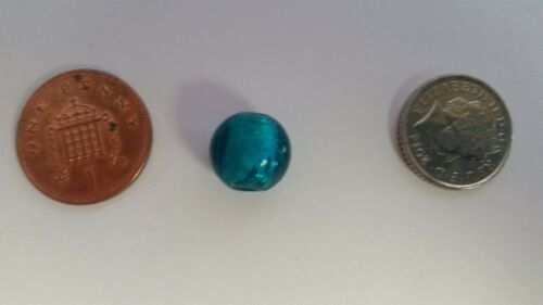 A3985 10 x Silver Foil Round Beads Turquoise 10mm