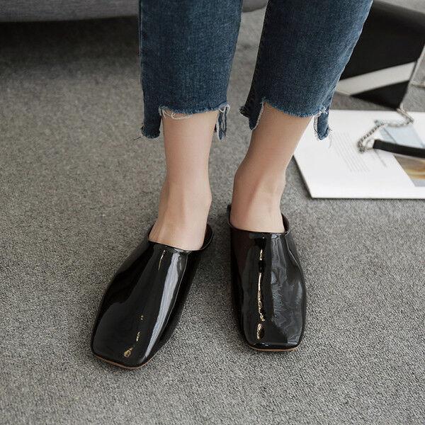 Zapatillas Elegantes Zuecos Negro Brillante Suela Cómodo Piel Sintético 9851