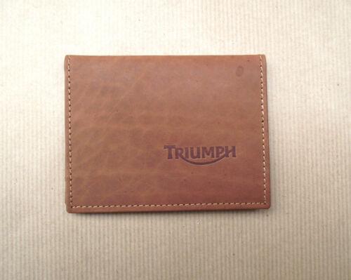 licence//ID titulaire vs933 Triumph Logo en Cuir Marron Carte De Crédit taille portefeuille