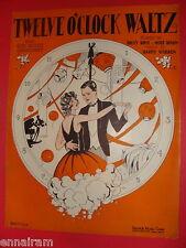 Twelve O'Clock Waltz 1928 Billy Rose, Mort Dixon, Harry Warren Pud Lane cover