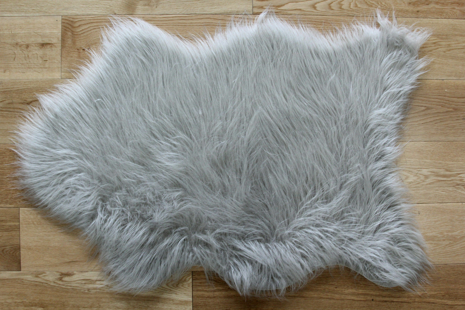 Silver Grey Fluffy Plain Bedroom Faux Fur Fake Fur Non Slip Rubber Sheepskin  Rug