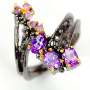 Fashion-Women-Ring-Natural-Amethyst-Gemstone-925-Sterling-Silver-Ring-RVS298