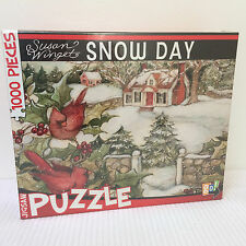 NEW - Susan Winget 1000 Piece Jigsaw Puzzle *SNOW DAY* Cardinals, Holly, Home