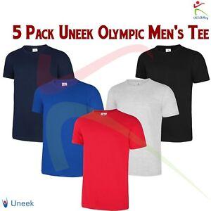 5-PACK-Uneek-Olympic-T-Shirt-Mens-Short-Sleeve-Plain-Casual-Tee-Unisex-T-Shirt