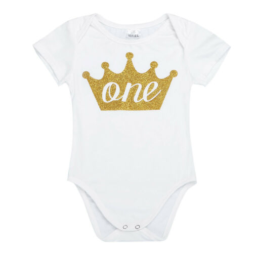Infant Baby Girl Boys Cotton 1st Birthday Romper Party Bodysuit Jumpsuit Outfits