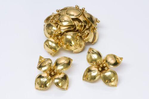 VALENTINO Garavani Couture 1980's Gold Tone Flower
