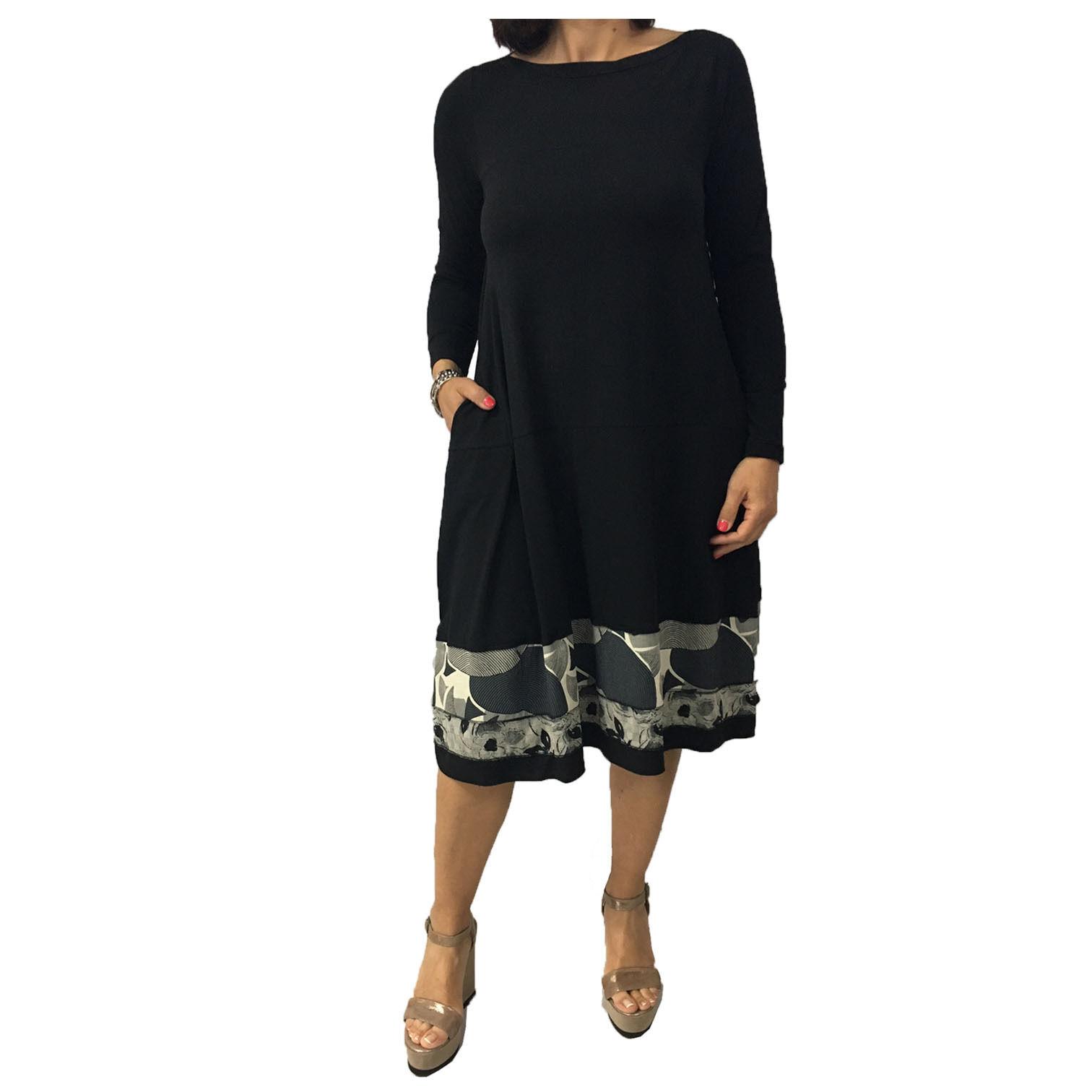 TADASHI Kleid Frau lange Ärmel schwarz Einsätze Fantasie MADE IN ITALY