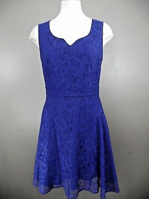 Zac Posen Z Spoke Womens 8 Blue Lace Sleeveless Fit Flare