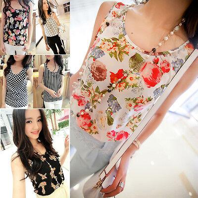Fashion Women Summer Casual Chiffon Vest Top Tank Sleeveless Shirt Flower Blouse