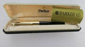 Beautiful-Vintage-Boxed-Parker-65-Fountain-Pen-14K-Nib-Rolled-Gold-Cap-44S