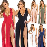 Sexy Women Long Gauze Dress Cocktail Party Deep-V Ball Gown Evening Slit Dress