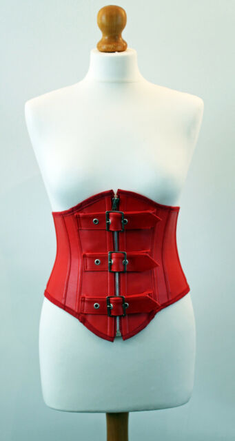 Red faux leather buckle waspie cincher corset all sizes