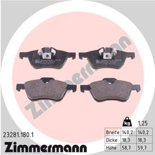 Beläge vorne Mini R50 R52 R53 Cooper One ZIMMERMANN Bremsscheiben Ø276mm