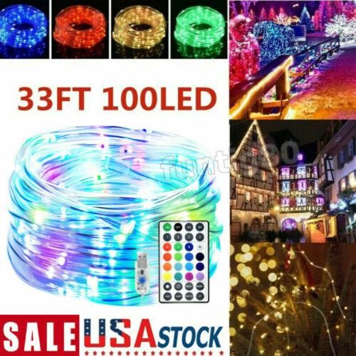 100 LED Strip Rope String Lights 33ft 10m Tube Outdoor Garden Party Decor Lights