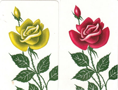 JS Roses vintage single playing swap cards #216 2 pair