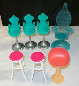 Mattel-Barbie-Lot-of-7-Stools-Chairs-Pink-amp-Blue