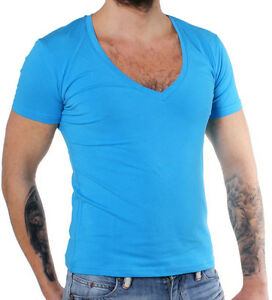 Young-amp-Rich-Party-Herren-Basic-T-Shirt-1315-tiefer-V-Ausschnitt-tuerkis