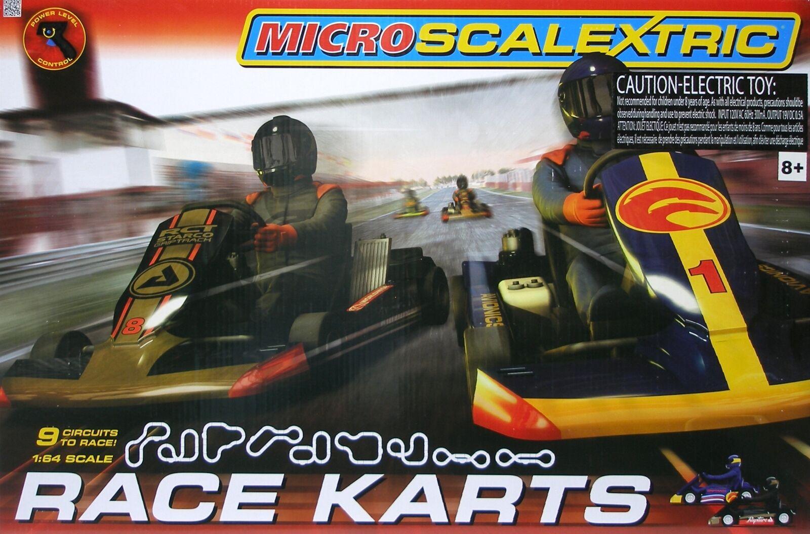 2015 Micro Scalextric G1120T Course De Kart 1 64 ho slot car race Set non utilisé NEUF