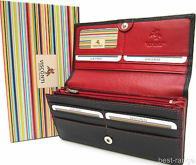 Ladies Purse Wallet Real Leather Black Red New in Gift Box Quality Visconti CD21