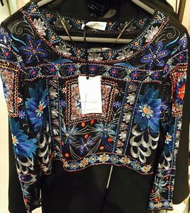 ZARA-Blue-Embroidered-Beaded-Top-Shirt-Blouse-Size-Large-L-Crop-Top