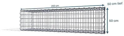 Spiral Gabione 200x50x50 cm, 5x10 Markenware
