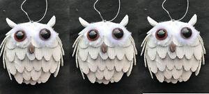 Decorazioni Natalizie X Dolci.Dettagli Su 3 X Dolce Bianco Gufo Da Parete Decorazioni Albero Di Natale 9cm