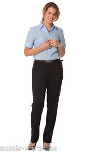 NEW LADIES WOMENS POLYESTER STRETCH FLEXI WAIST NURSE CASUAL WORK UTILITY PANTS