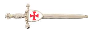 Knights Templar Shield Masonic Silver Plated & Enamelled Pewter Kilt Pin Avec Des MéThodes Traditionnelles