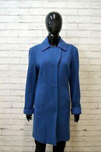 BENETTON-Giacca-Donna-Casual-Taglia-L-Cappotto-Lana-Blu-Jacket-Woman-Giubbino