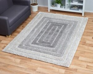 LARGE THICK SOFT 3D CARVED PILE CREAM SILVER GREY CONCENTRIC LINES RIDGE RUG
